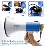Pyle Megaphone PA Bullhorn Speaker - Built-in Siren 50 Watts Rechargeable Battery- 10 Sec Record Function for Football Baseball Basketball Cheerleading Fans Coaches or for Safety Drills