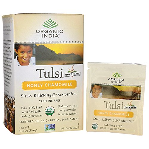 Tea Tulsi Original (Organic India Tulsi Tea, Honey Chamomile, 25 Tea bags)