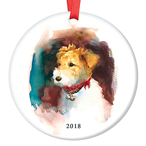 Fox Terrier Ornament 2018, Porcelain Ceramic Dog Ornament, Family Dog Watercolor 3