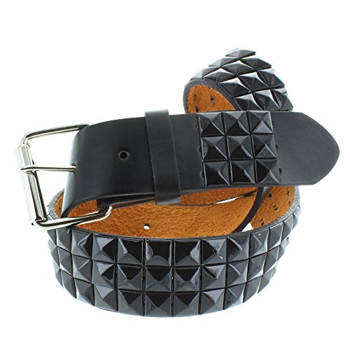 Pyramid Studded Black Leather (Faddism Men's Genuine Leather Black Pyramid Studded Belt Large Size)