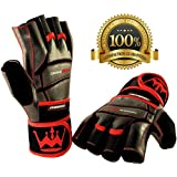 Weightlifting Gloves for Gym Fitness Bodybuilding - Workout Gloves for Men & Women - Dominator Leather Crossfit Cross Training Gloves W. Wrist Strap Wrap - Best Weight Lifting Gloves with Wrist Support for Heavy Lifting