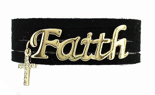 Amazon.com: 4030742 Faith Leather Wrap Bracelet Inexpensive ...