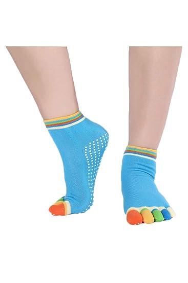 Zonsaoja Mujeres Yoga Cinco Dedos Calcetines Agarre Calcetín Antideslizante Caídas Prevención Azul One Size: Amazon.es: Ropa y accesorios