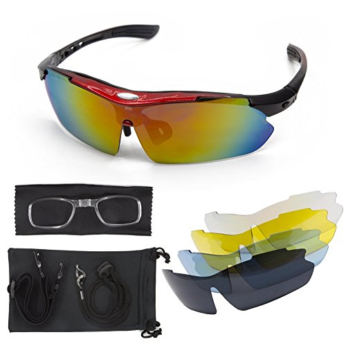Polarized Sunglasses Sport Cycling Men - Women LT&PK For Fishing Golf Driving Riding Baseball Goggles UV Protection TR90 Frame Superlight 2017 New Design With 5 Interchangeable Lenses (black, - Driving 2017 Sunglasses
