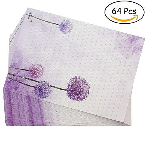 Bolbove 64 Pcs Lovely Plant Elegant Dandelion Letter Writing Stationery Paper Lined Sheets (Halloween Short Story Printables)
