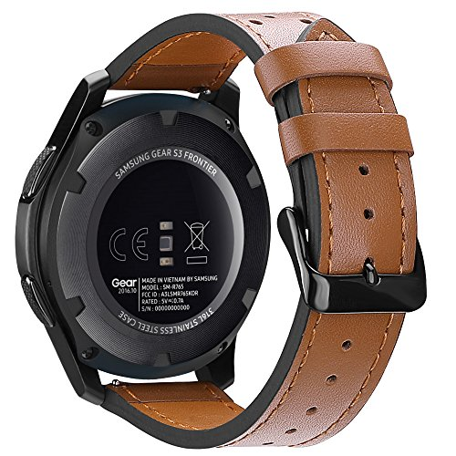 for Gear S3 Watch Band 22mm, Fintie Genuine Leather Replacement Strap Wrist Bands with Stainless Steel Metal Clasp for Samsung Gear S3 Frontier/Gear S3 Classic Smartwatch - Brown (Pebble Smartwatch Best Price)