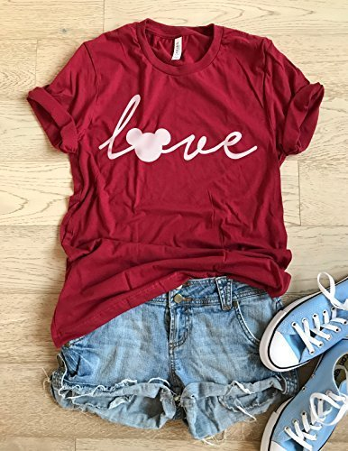 Mickey Mouse Love. SIZE LARGE. Hand Screen Printed With Eco Water Based Ink. Disney Love T Shirt. Cool T Shirt. Disney Trip Shirt. Unisex Fit. Crew-Neck Shirt.