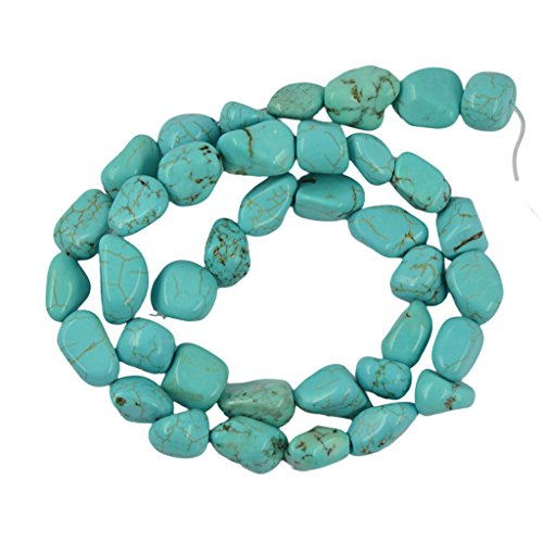 Artifical Blue Howlite Turquoise Gemstone Loose Beads Strand 15 inch for Necklace Bracelet Jewelry Making Findings Accessories ()