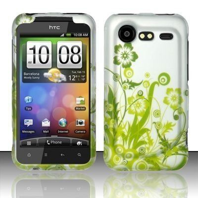 GREEN VINES RUBBER FEEL HARD PLASTIC ACCESSORY CASE FOR HTC INCREDIBLE 2 6350 [In AccessoryAid Retail Packaging]