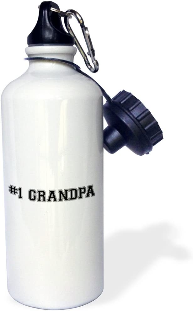 White 21 oz 3dRose wb/_151611/_1#1 Grandpa-Number One Grandfather for worlds greatest and best grandpops-black text Sports Water Bottle