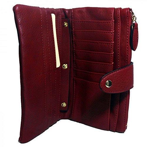 porte en amovible portefeuille Shopping sac de Simili cuir Bordeaux rouge compagnon Organisateur souple cuir Mode simili bordeaux et avec monnaie BwKaqB6z