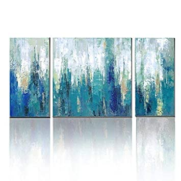 3hdeko Blue Abstract Canvas Wall Art Teal Abstract Painting Modern 3 Pieces Turquoise Prints Artwork For Living Room Bedroom Bathroom Home