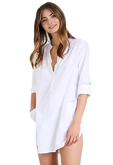 a07ceafec5 NFASHIONSO Women's Loose Cotton Swimwear Bikini Beach Dress at Amazon Women's  Clothing store:
