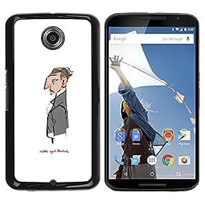 iBinBang / Funda Carcasa Cover Skin Case - Sir White Monsieur Sherlock Waiter - Motorola NEXUS 6 / X / Moto X Pro