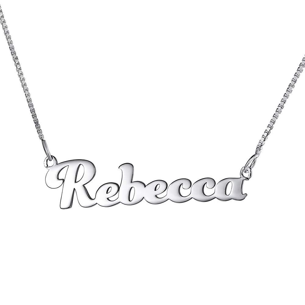 Collana nome argento 925,personalizzabile,con scatolina regalo 45 cm regolabile