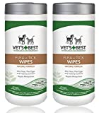 Vet's Best Natural Flea and Tick Wipes for Dogs & Cats FamilyValue 2Pack (50 Wipes) USAmade