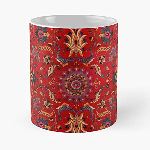 Antique Carpet Mashad Oriental Rug - Morning Coffee Mug Ceramic Novelty Holiday 11 Oz