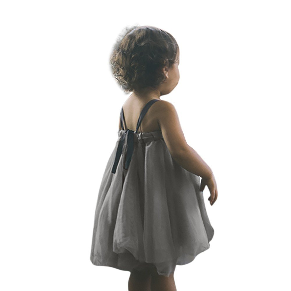 Little Girls Sleeveless Floral Princess Dress Tulle Tutu Sundress Gray by Karoleda_Baby Girls Clothes (Image #2)