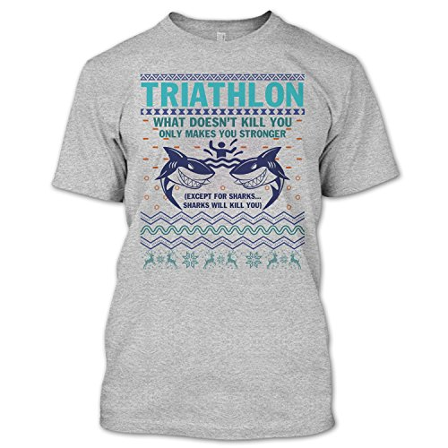 Crazy Fan Store Triathlon T Shirt, Sharks Will Kill You T Shirt Unisex (XXXL,Sport - Clothing Triathlon Stores