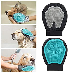 Porum Eco Friendly Soft & Gentle Pets Grooming Mitt, 2in1 Breathable Grooming Brush, Glove, Deshedding Massage Tool for East-European Shepherd 27