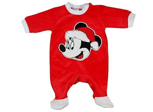 3b547ee809 Mädchen Baby-Strampler Weihnachtsstrampler Baby Weihnachtsoutfit Langarm  Fuß WARM dick Nicki Plüsch Minnie Mouse GRÖSSE 56 62 68 74 rot Neugeborene  0 3 6 9 ...