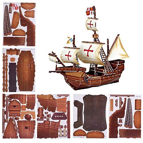 (3D Paper Ship, DIY 3D Paper Puzzle Ship Toy Santa Maria Pirate Boat Assembled Model for Kids)