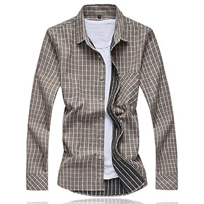 Honghu Men's Casual Plus Size Soft Fit Long Sleeve Dress Plaid Shirt