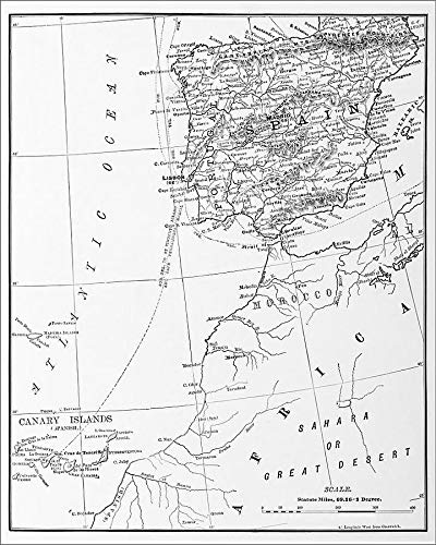 Media Storehouse 20x16 Print of Antique Illustration from US Navy and Army Spain, Portugal, Morocco (18298727) (Map Of Spain And Portugal And Morocco)