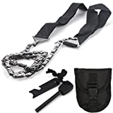 Sweetfun Survival Gear Pocket Chainsaw Tactical Tools Hand Saw with Fire Starter Set for Everyday Carry Camping Outdoor