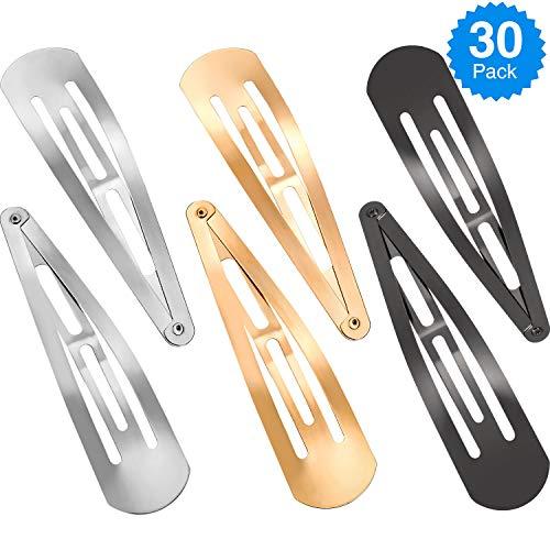 30 Pieces 4 Inch Large Metal Snap Hair Clips No Slip Hair Barrettes Girls Women Hair Accessories (Gold, Silver, Gun Black) ()