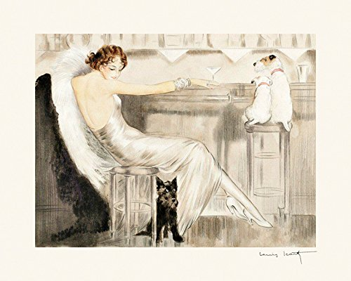 Louis Icart Art Deco Fashion Lady at the Bar Martini and Scottish Fox Terrier Dogs Vintage Poster Repro 12