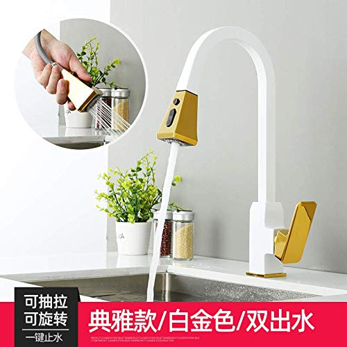 White gold Tub Taps Faucet Sink Faucet Dish Full Copper gold Hot and Cold Water Faucet Kitchen Pull Type Bronze Black Sink, Silver B