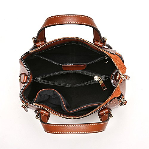 Bag Sunbobo Brown Leather Simple Messenger Bag Bag Shoulder around Boston Retro Zip TOXRwO4F6