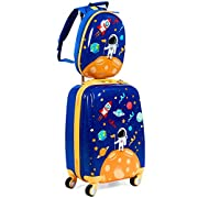 GYMAX 2Pc Kid Carry On Luggage Set, 12″ & 18″ Kids Suitcase with 4 Spinner Wheels, Travel Rolling Trolley for Boys and Girls, Gift for Toddlers Children (Astronaut)