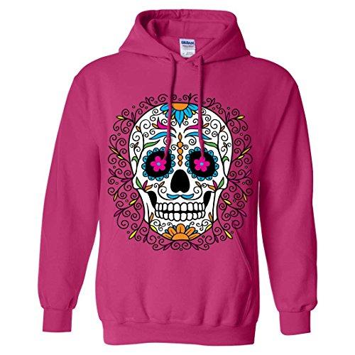 Dia De Los Muertos Pastel Sugar Skull Sweatshirt Hoodie - Heliconia X-Large
