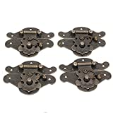 WEONE Replacement Antique Bronze Padlock Hasp Decorative Jewelry Box Lock L Size (Pack of 4)