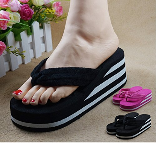 bettyhome Women High Heels Rainbow Comfortable Thongs Casual Wedges Sandals Beach Flip Flops Slipper (8 B(M) US=EUR 39, Black)