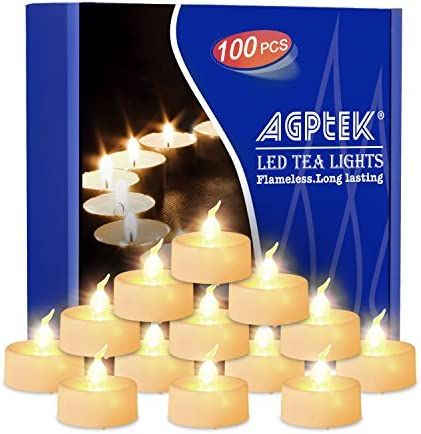 AGPtEK Tea Lights,100 Pack Flameless LED Candles Battery Operated Tealight Candles No Flicker Long Lasting Tealight for Wedding Holiday Party Home Decoration Warm White