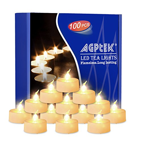 AGPtEK Tea Lights with Flicker,100 Pack Flickering Flameless LED Candles Battery Operated Tealight Candles Long Lasting Tealight for Wedding Holiday Party Home Decoration(Warm White)]()