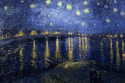 Starry Night Over the Rhone Stretched Canvas Art Print By Van Gogh