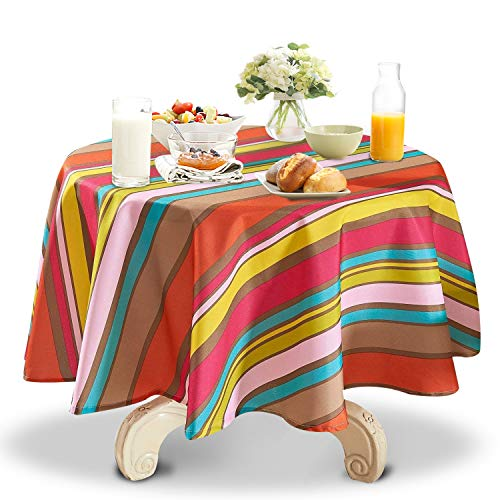 YEMYHOM 100% Polyester Spillproof Tablecloths for Round Tables 60 Inch, Modern Printed Indoor Outdoor Camping Picnic Circle Table Cloth (Colorful Stripes)