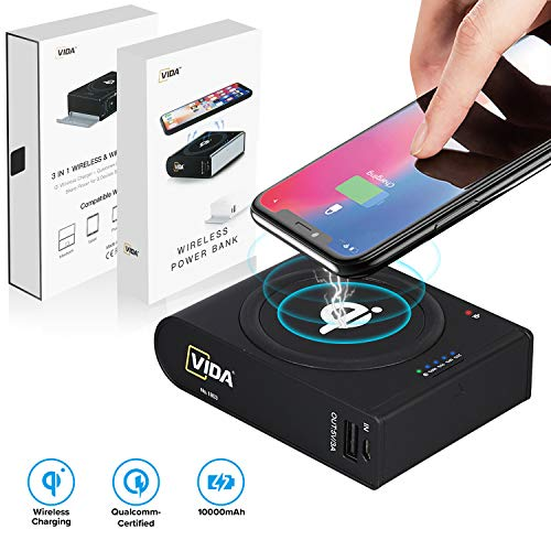 Wireless Portable Charger, CVIDA 10000mAh 10W Fast Qi Wireless Power Bank with 3 Outputs & 2 Inputs Huge Capacity External Battery Pack Compatible Smartphone, Tablet, Mackbook (Support 18W PD, QC 3.0)