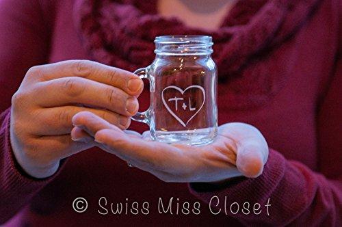24 Custom Etched Mini Mason Jar Shot Glass Personalized Wedding Favor Groom's Men Bride's Maid Gift