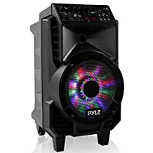 Pyle Portable PA Speaker & Microphone Kit [Karaoke Sound System] Bluetooth Wireless Streaming, Rechargeable Battery, Dancing LED Party Lights, Includes Wired & Headset Mics