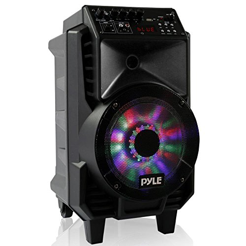 1x8' Bass - Pyle Portable Karaoke Sound System, Bluetooth Wireless Streaming, USB Micro SD Card Reader, Stereo Speaker, Rechargeable Battery, Dancing LED Party Lights, Includes Wired & Headset Mics (PPHP816WMU)