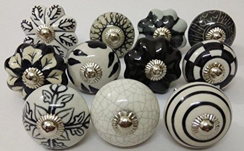 10 Black & White Ceramic Knobs Handmade Handpainted Ceramic Door Knobs Kitchen Cabinet Knobs Kitchen Cabinet Drawer Pulls Kid's Badroom Knobs by Zoya's (2001)