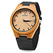 REDEAR Women's Bambooo Wooden Quartz Watch Leather Strap Analog Casual Wood Water Resistance Wristwatch (Black)