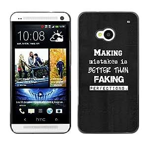A-type Arte & diseño plástico duro Fundas Cover Cubre Hard Case Cover para HTC One M7 (Cometer errores - Tipografía)