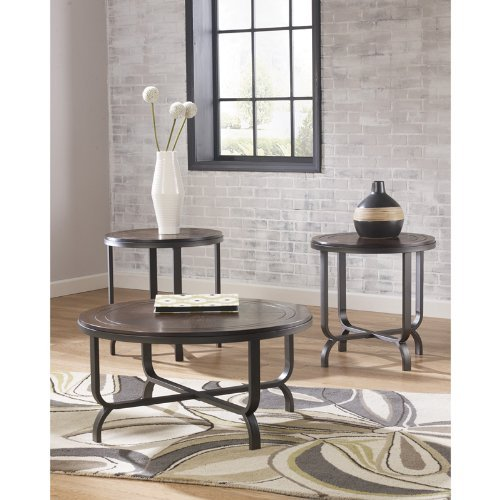 Ashley Furniture Signature Design - Ferlin Circular Occasional Table Set - Contains Cocktail Table & 2 End Tables - Contemporary - Dark Brown