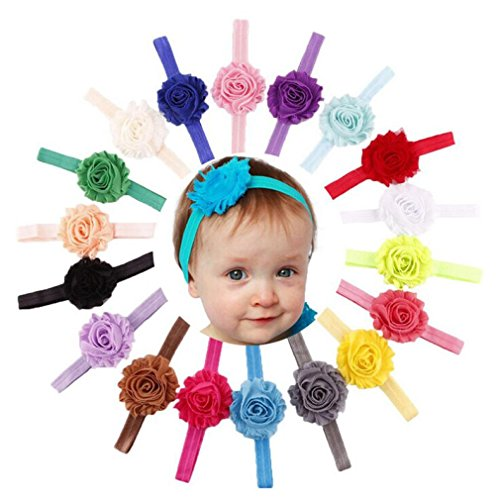 Baishitop 18PC Elastic Shabby Flower Babys Girls Headband from Baishitop
